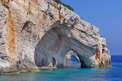 Blue Caves in Zakynthos, Greece Royalty Free Stock Photography