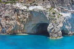 Blue Caves - Zakynthos Island, landmark attraction in Greece. Ionian Sea. Seascape Royalty Free Stock Image
