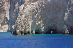 Blue Caves - Zakynthos Island, landmark attraction in Greece. Ionian Sea. Seascape Royalty Free Stock Photos