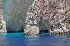 Blue Caves and Ionian Sea - Zakynthos Island, landmark attraction in Greece. Seascape. Rocky landscape and blue caves in Zakynthos Island, landmark attraction in royalty free stock images