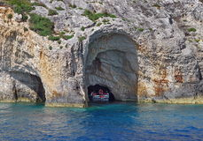 Blue Caves and Ionian Sea - Zakynthos Island, landmark attraction in Greece. Seascape Royalty Free Stock Photos