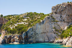 Blue caves on Zakynthos island Royalty Free Stock Photo