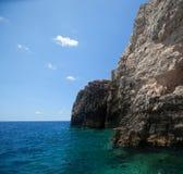 Blue caves on Zakynthos island Stock Photos