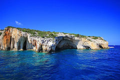 Blue caves in Zakynthos island Stock Images