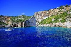 Blue caves in Zakynthos island Stock Photos