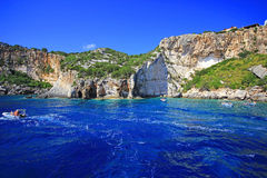 Blue caves in Zakynthos island Stock Image