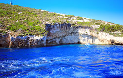 Blue caves in Zakynthos island Stock Photography