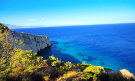 Blue caves in Zakynthos island Royalty Free Stock Photos