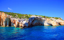 Blue caves in Zakynthos island Royalty Free Stock Images