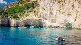 Blue caves on Zakynthos island, Greece. Royalty Free Stock Photo