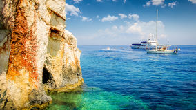 Blue caves on Zakynthos island, Greece. Royalty Free Stock Photography