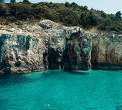 Blue caves on Zakynthos island, Greece Royalty Free Stock Photography