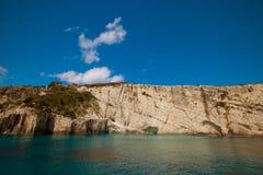 Blue caves on Zakynthos island Royalty Free Stock Photo