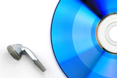 Blue CD and earphone Royalty Free Stock Photo