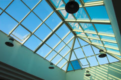Blue ceiling with lamps. In the office center Royalty Free Stock Photography