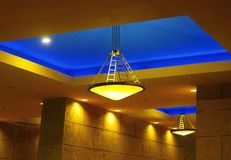 Blue ceiling lights. Beautiful entry way blue ceiling light installation Royalty Free Stock Photography