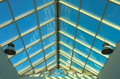 Blue ceiling in the shop. Horizontal Royalty Free Stock Image