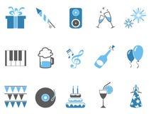 Blue celebrating holiday party icons set Stock Image