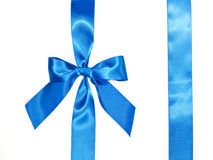 Blue celebratory bow with a blue tape Stock Images