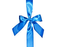 Blue celebratory bow with a blue tape Stock Photography