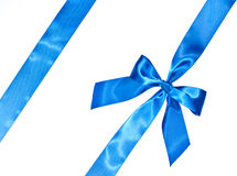 Blue celebratory bow with a blue tape Stock Photo