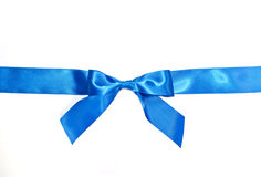 Blue celebratory bow with a blue tape Stock Image