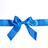 Blue celebratory bow with a blue tape Stock Photos