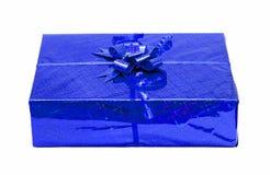 Blue celebratory gift box isolated Royalty Free Stock Image