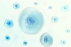 Blue cell human in centre, medicine scientific background. 3d illustration. Stock Photography