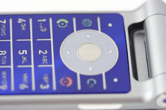 Blue cell phone pad Royalty Free Stock Images