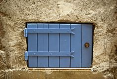 Blue cellar door Royalty Free Stock Images