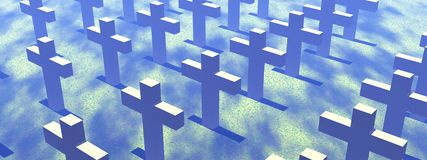 Blue cemetery. View on lots of crosses in a cemetery Stock Photography