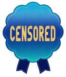 Blue CENSORED ribbon badge. Royalty Free Stock Images