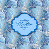 Blue centre label design. Winter frozen glass background. Text place. Royalty Free Stock Photos