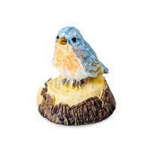 Blue ceramic bird toy. Blue ceramic bird toy isolated on white background, Clipping path Stock Photo