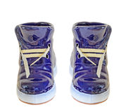 Blue ceramic boot, sneaker, close up, isolated, white background Stock Image