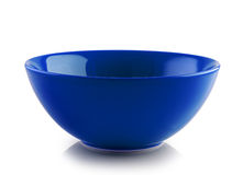 Blue ceramic bowl on white background Royalty Free Stock Photography