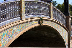 Blue ceramic bridge at Plaza de Espana, Seville Royalty Free Stock Images
