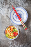 Blue ceramic cup noodles with vegetables, shrimps, green onions Royalty Free Stock Photography