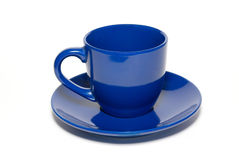Blue ceramic cup and saucer Stock Photo