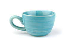 Blue ceramic cup Stock Photo