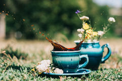 Blue ceramic cups with a milkman on the grass with a splash of coffee. Decorated with summer flowers Stock Photography
