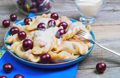 In blue ceramic dish, fruit and berry dumplings with cherries Stock Image