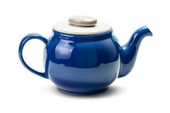 Tea pot. Blue ceramic hot tea pot  on white background with clipping path Royalty Free Stock Photos