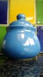 Blue ceramic jar Royalty Free Stock Image