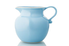 Blue ceramic pitcher Royalty Free Stock Photos