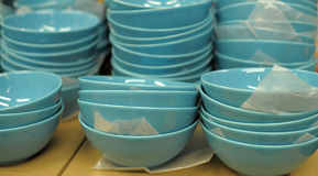 Blue ceramic plates Stock Image
