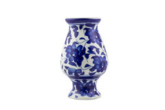 Blue ceramic porcelain vase on isolated white background. Picture royalty free stock images