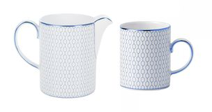 blue ceramic teapot jug cup set stock illustration