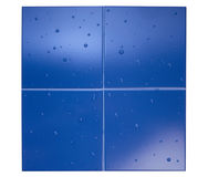 Blue ceramic tile and drops Royalty Free Stock Photography